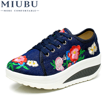 MIUBU Cotton Floral Embroidery Womens Fashion Canvas Flat Platforms Lace up Ladies Casual Comfort Walking Shoes Zapatos Mujer