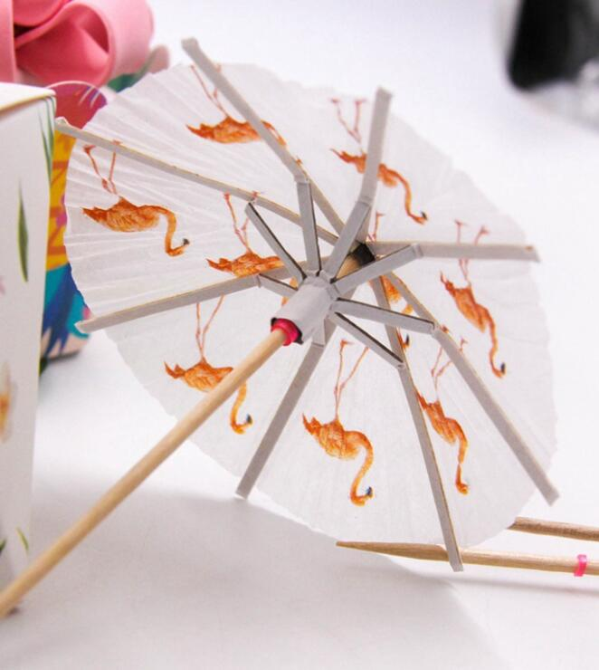 40PCS Flamingo Paper Umbrella Drink Picks Cake Topper Cocktail Parasols Paperboard Crafts For Kids Birthday Party Supplies