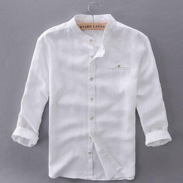 e97bc33c764 Уникальный дизайн три четверти льняные рубашки мужские тонкий лен рубашка  брендовая мужская повседневная рубашка мужская мода