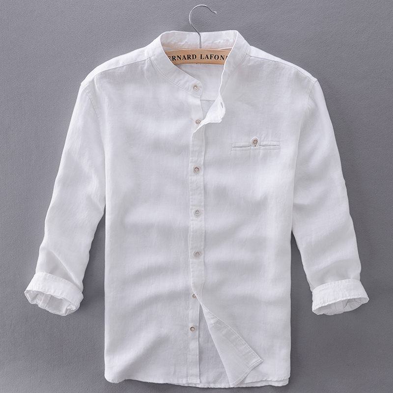 Unique Design Three Quarter Linen Shirts Men Slim Flax