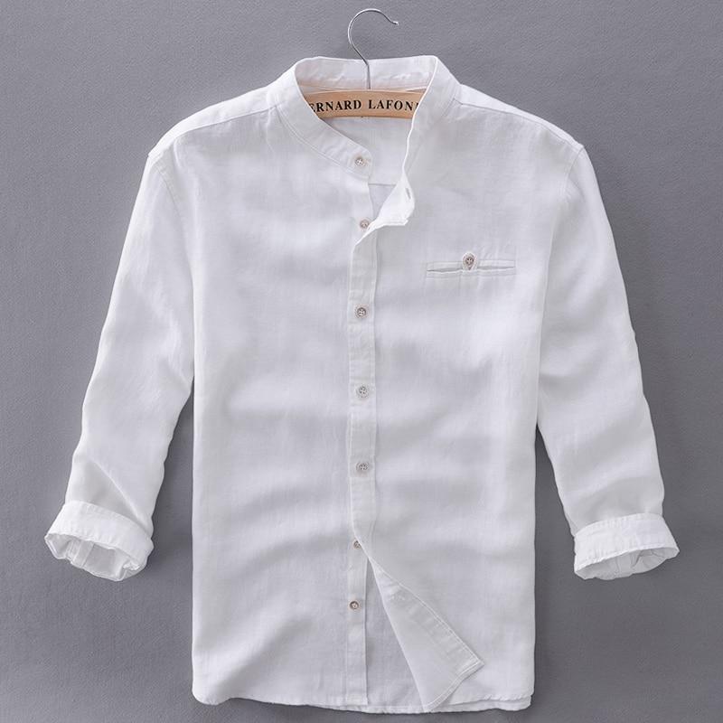 Unique design three quarter linen shirts men slim flax for Mens linen dress shirt