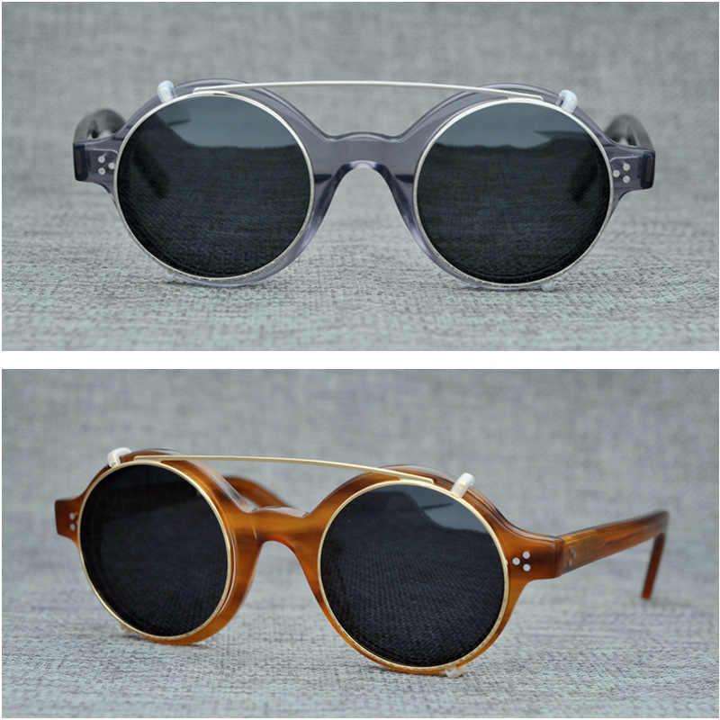 379897f498 Round Polarized Sunglasses Men Clip on Lens Fit Over Acetate Eyeglasses  Frame UV400 Polarizing Lenses for