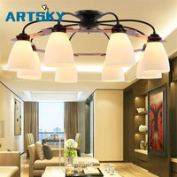 American Iron Ceiling chandelier modern European bedroom living room lamp restaurant 3/5/6/8 circulars milky lampshade wall lamp