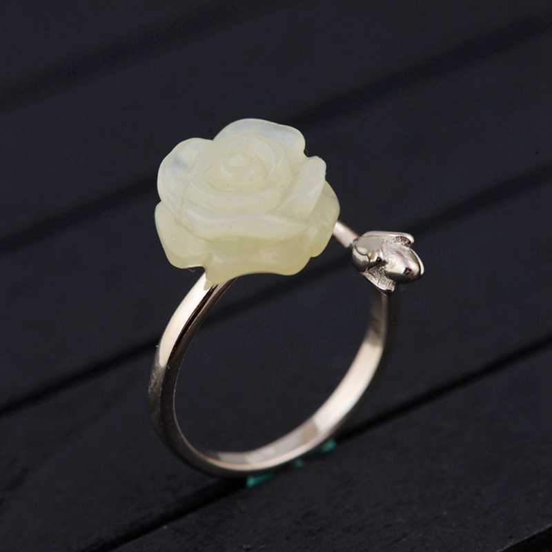 LouLeur 925 เงินสเตอร์ลิงสีขาวหยก rigns ธรรมชาติ hetian หยกสีขาวปรับแหวนหยกเครื่องประดับ charms