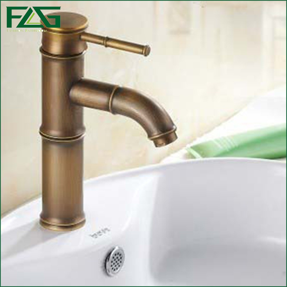 ФОТО FLG Multiple Choices Basin Faucet Antique Brass Bathroom Basin Sink Faucet Bamboo Design Vintage Tap Antique Copper Faucet M171X