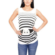 Pregnancy Clothing Plus Size Maternity T-Shirt Casual Cotton Sleeveless Vest Cute Funny Pattern Print Clothes Pregnant Top(China)