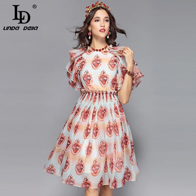 Ld linda della 2019 패션 활주로 여름 드레스 여성 주름 장식 꽃잎 슬리브 휴일 파티 미디 핑크 우아한 드레스 vestidos-에서드레스부터 여성 의류 의  그룹 1