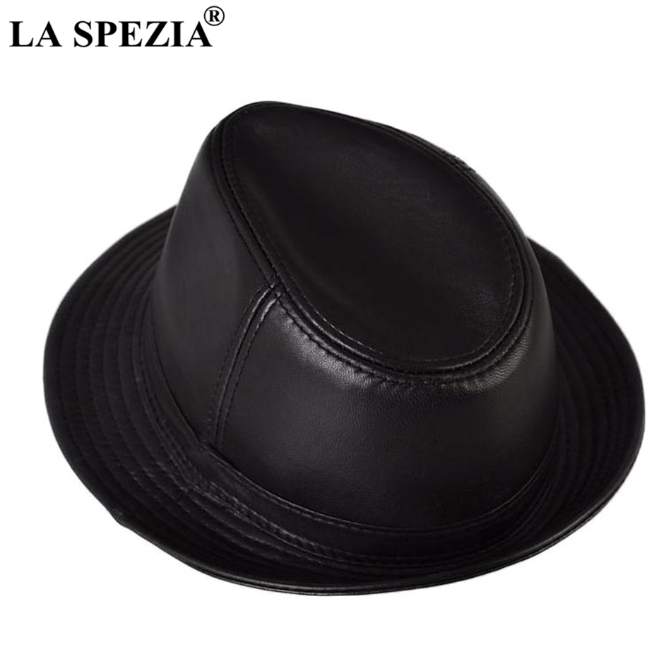 LA SPEZIA Genuine Sheepskin Leather Felt Trilby Hat Men Black Casual Jazz Caps Male Natural Brand Spring Fedoras Hats