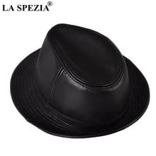 LA SPEZIA Genuine Sheepskin Leather Felt Trilby Hat Men Blac