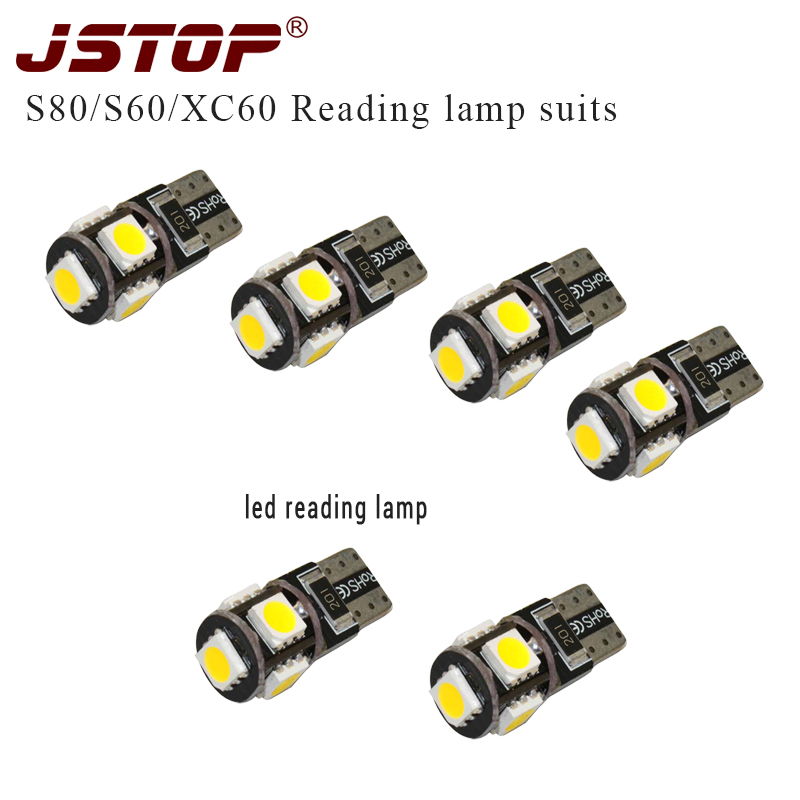 JSTOP 6pcs/set S80 S60 XC60 led car reading lights led 12VAC 5050smd T10 W5W canbus dome Light Trunk bulbs led T10 Interior lamp alfani new navy blue spaghetti strap sleeveless womens size 12 tank cami top $29