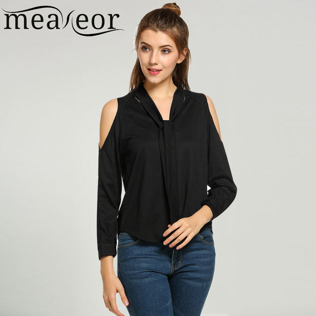 Meaneor New Fashion Blouse Shirt Female Open Off Shoulder Long Sleeve Lace  Up Collar Casual Loose Ladies Blouse Black White Tops 0f3df5cee