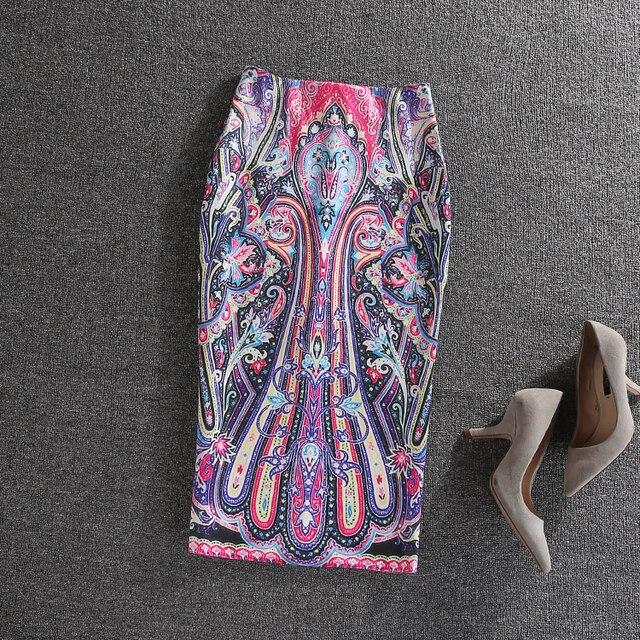 Мода Офис Леди Bodycon Юбки Лето Осень 2017 Геометрия Картины Высокая Талия Тонкая Бедра Midi Карандаш Юбки faldas largas