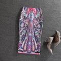 Fashion Office Lady Bodycon Skirts Summer Autumn 2016 Geometry Painting High Waist Slim Hip Midi Pencil Skirts faldas largas