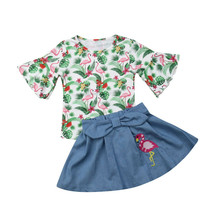 Summer Kids Baby Girl Clothes Flamingo Tops T-Shirt Tutu Dress Skirt Outfits Toddler Summer Clothes Childrens Clothing Girls Set kids toddler girl summer clothing set ruffle off shoulder t shirt top bow skirt tutu dress stripe baby clothes outfit