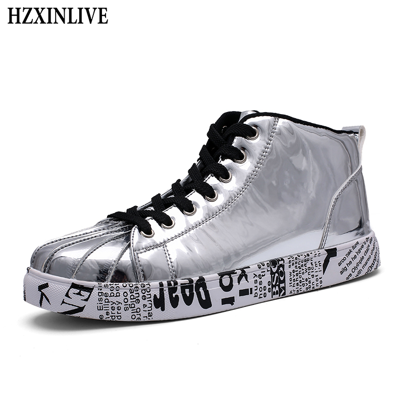 HZXINLIVE 2018 Women Vulcanized Shoes Sneakers Ladies Lace-up Casual Ankle Shoes Walking Bling Mirror Leather Graffiti Flat Plus e lov women casual walking shoes graffiti aries horoscope canvas shoe low top flat oxford shoes for couples lovers