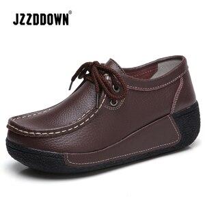 Image 2 - JZZDDOWN أحذية النساء جلد طبيعي مع الفراء أحذية امرأة منصة كعب عالية 5 سنتيمتر أحذية رياضية النساء منصة المتسكعون السيدات الأحذية