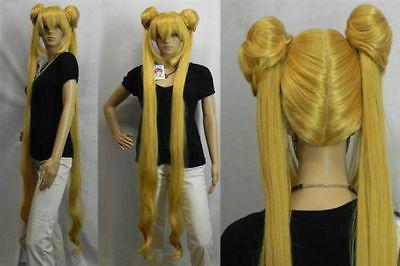 &Wholesale&>> Mixed golden Sailor Moon Tsukino Usagi Cosplay Party Heat Resistant Women Wig