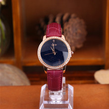 Casual Quartz Wristwatch Diamond Elegant Ladies Leather Watches Women Dress Alloy Case Gift for Luxury