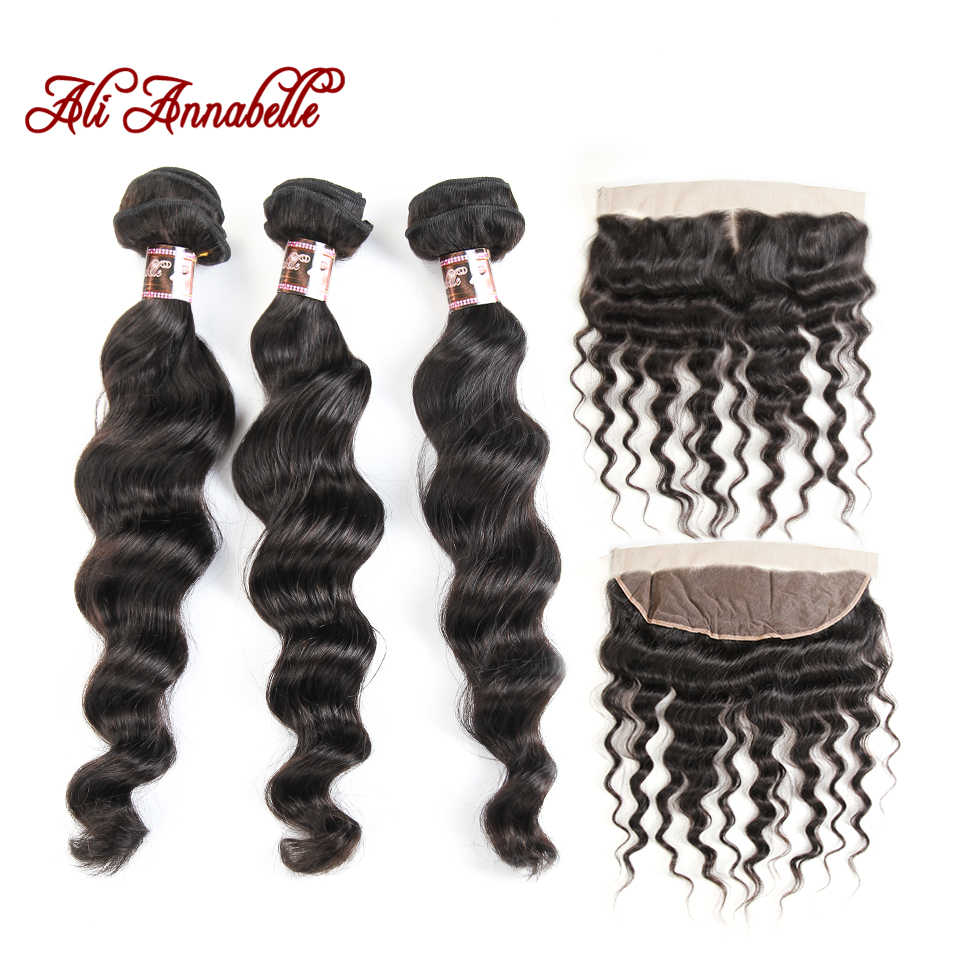 ALI ANNABELLE Peruvian Loose Wave Bundle With Closure 3 Bundle Human Hair Weave Remy Hair Ear to Ear Lace Frontal With Bundle