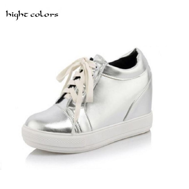 2017 New Fashion Women PU Leather Shoes Height Increasing Shoes Flats Ankle Boots Lace-Up Style Short Boots black silver white chilenxas 2017 leather men casual shoes style flats breathable height increasing new fashion lace up solid spring autumn light