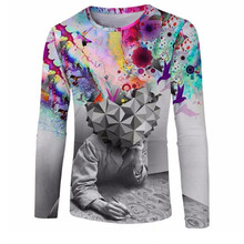 3D fashion print brain hole wide open men's clothing stamp Mens Long Sleeve T-Shirt sweater