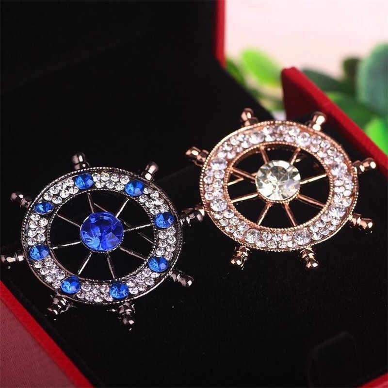 Fashion Merek Bros untuk Pria Kemudi Desain BIRU/Warna Emas Berlian Imitasi Paduan Bros Pin Perhiasan Mewah