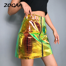 ZOGAA 2019 Summer New Reflective Women Shorts Skirts Zip PU Upper Sexy Modern Lady High Waist Bodycon Short