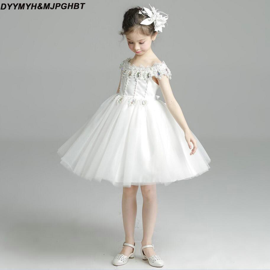 Short Flower Girl Dresses For Weddings Lace Hem Crystal Bone Top
