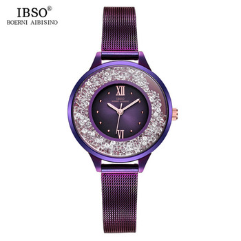 IBSO Luxury Fashion Purple Watches for Women 2019 Mesh Bracelet Watch Special Diamond Crystal Ladies Roman Numeral Watch S8661L
