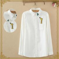 Hot Cotton Casual Blouse Female Turn Down Collar Long Sleeve White Tops Women Embroidery Giraffe Leaves