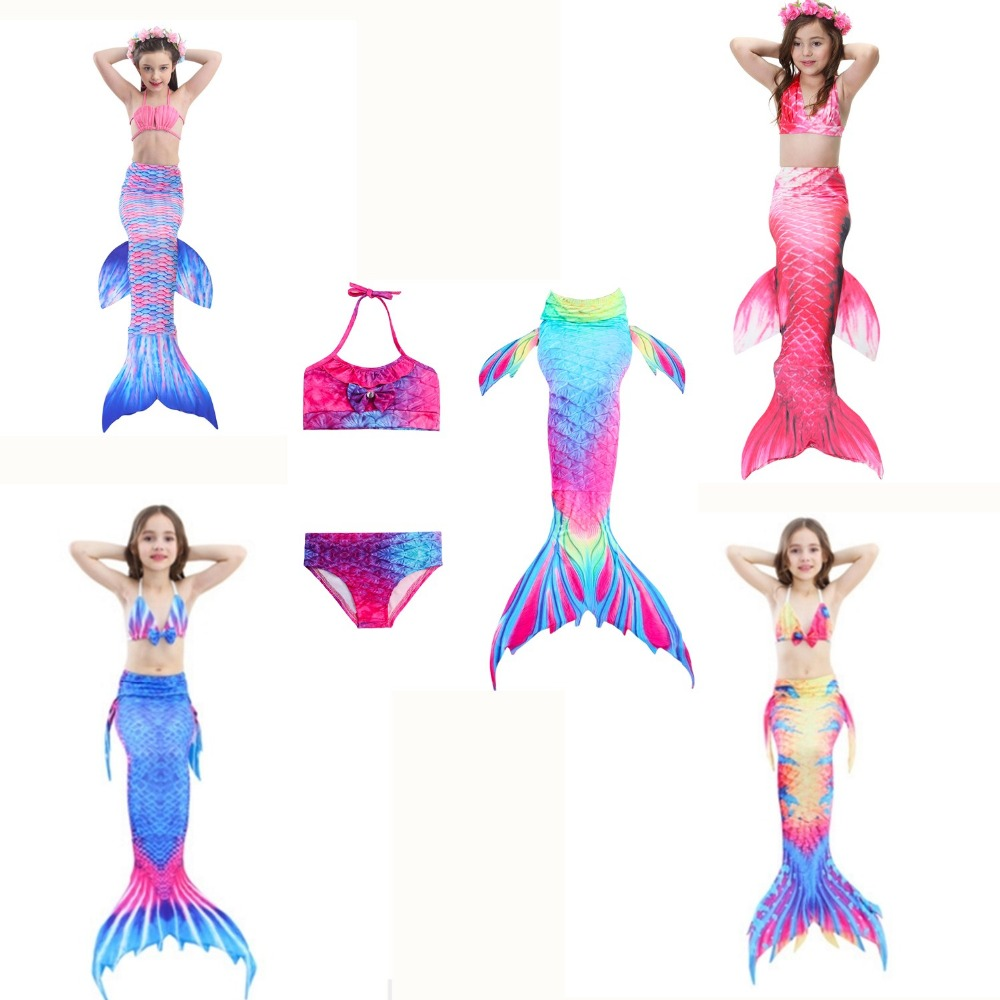 Headlamps 3 Pcs/set Little Mermaid Costume For Girl Mermaid Costume Cosplay Swimwear Girl Cosplay Mermaid Tail Custome No Monofin To Reduce Body Weight And Prolong Life