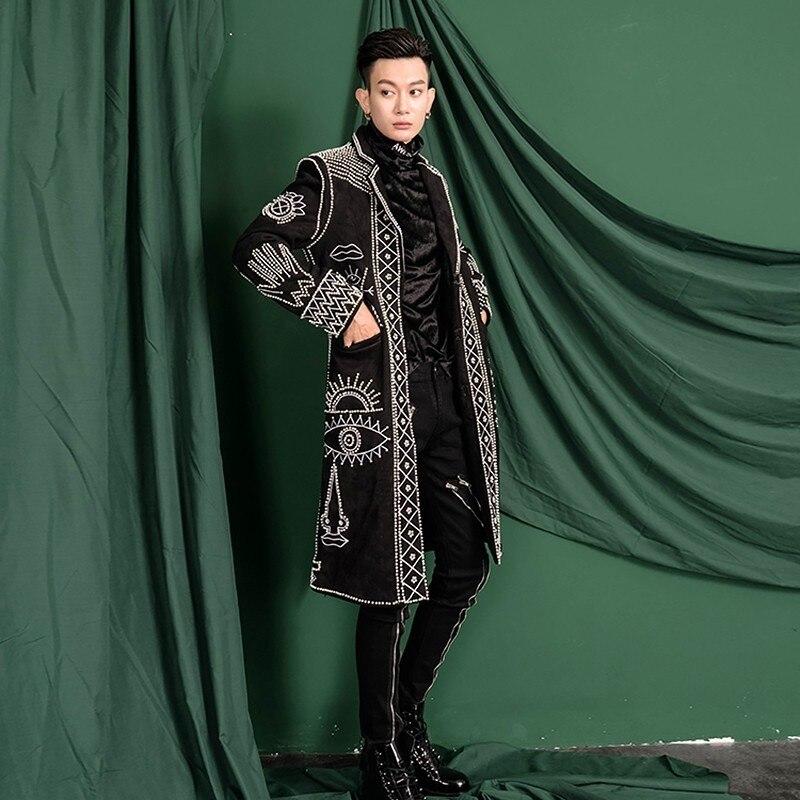 Vrais hommes asie taille noir Baroque broderie perles événement/tapis rouge/étoiles/luxe Long manteau/scène Performance/studio/danse/club