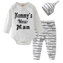 b1825aa7e Recién nacido Ropa bebé niño de manga larga carta mamá Nuevo Hombre Mono  Tops nube pantalón sombrero 3 piezas trajes de bebé rop.