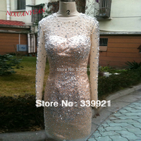 2014 New Arrival Elegant Beading Champagne High Neck With Long Sleeves Sexy Sheath Mini Cocktail Dress