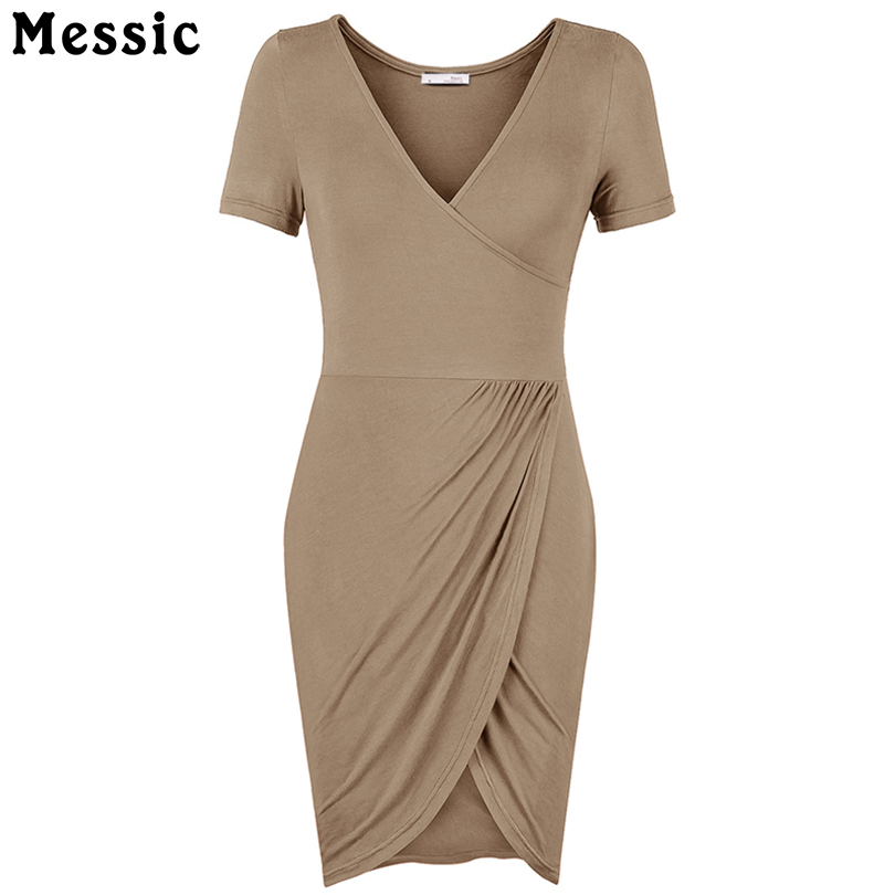 Messic Summer Style Women Sexy Deed V-Neck Bodycon Dress Split Short Sleeve Irregular Hem Pencil Dress Slim Fit Femme Vestidos