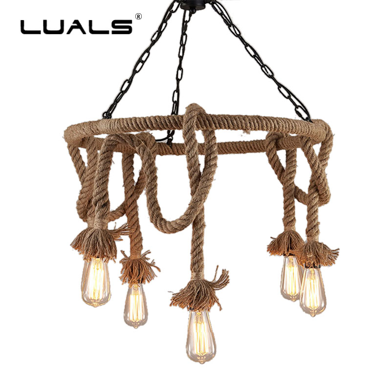 LUALS Retro Pendant Lamp Loft Style Suspension Luminaire Hemp Rope Edison Bulb Light Fixture Indoor Lighting Led Pendant Lights|led pendant light|pendant lights|pendant lamp - title=