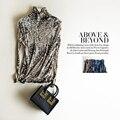The Neckline Pleated Silk Mesh Shirt Female Double 100% Silk Slim Long Sleeved Turtleneck