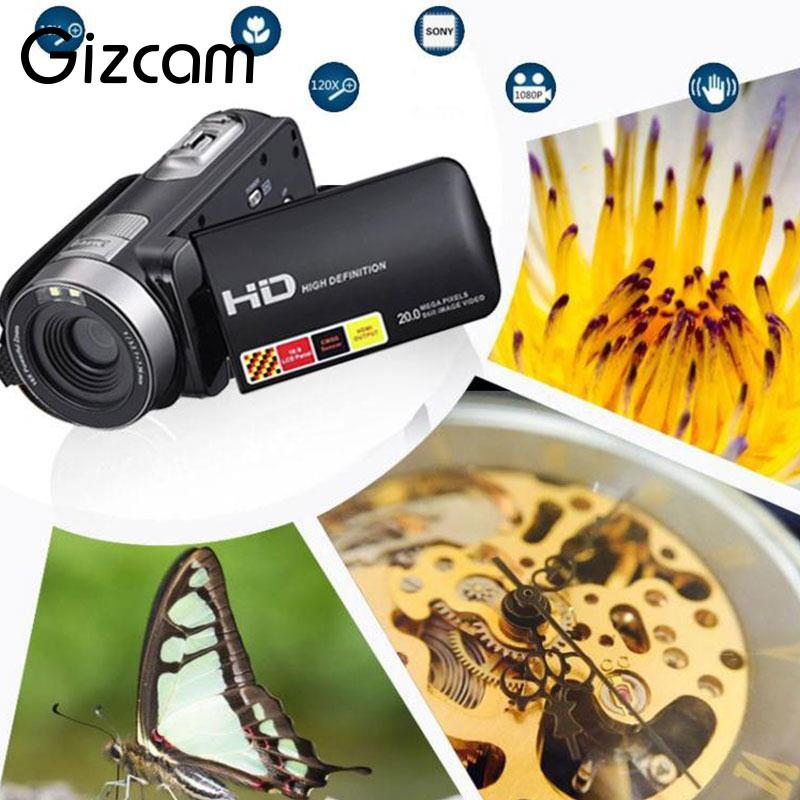 Gizcam 3 LCD HD 1080P IR Night Vision Infrared Digital Camera Video Recorder Mini Camcorder DV DVR Cam Black 480p 2017 digital hd cmos 2 0 camera video audio mini camera small camcorde dv dvr recorder web cam
