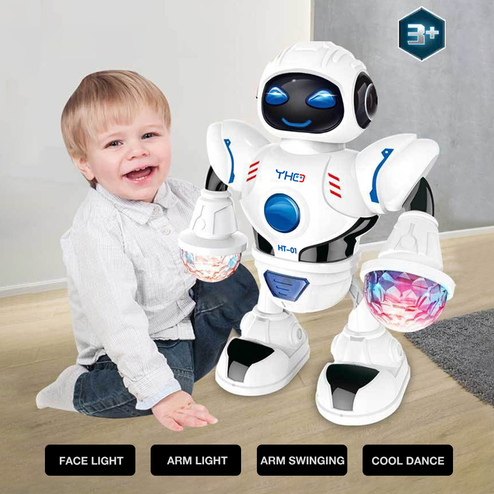 ABS Plastic Electric Intelligent Robot Space Model Q Version Action Puzzle Toys Smart For Kids Music Electric Dance Robot