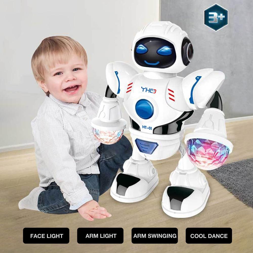 ABS Plastic Electric Intelligent Robot Space Model Q Version Action Puzzle Toys Smart For Kids Music Electric Dance Robot