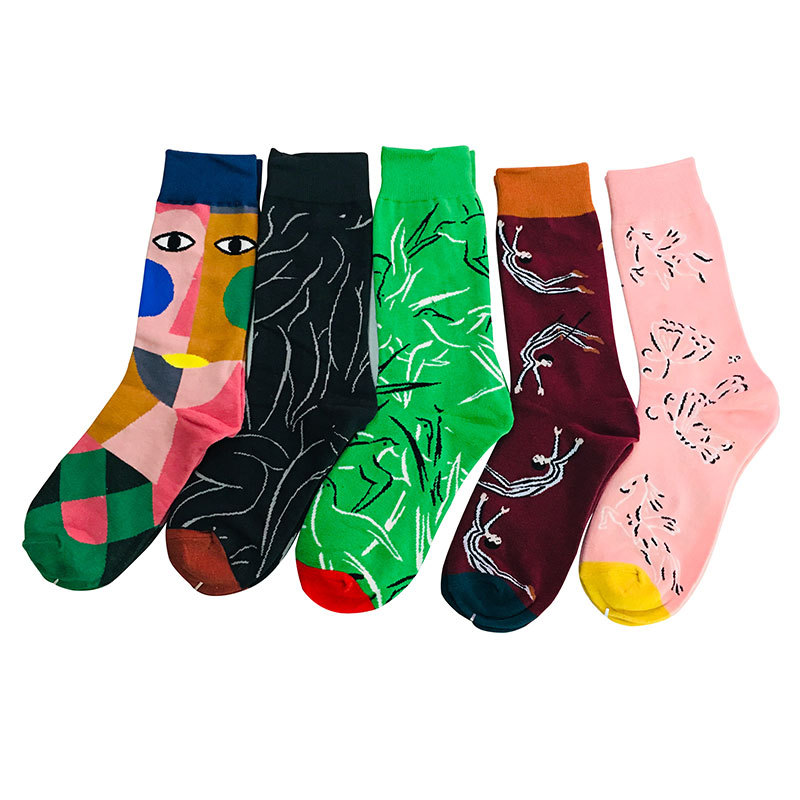 Underwear & Sleepwears Men Combed Cotton Socks Funny Happy Novelty Long Crew Socks Beatles Rock Crazy Fun Funky Skateboard Socks Colorful Yellow Sox