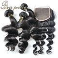 7А Росс довольно 3 шт. волос weave с 1 шт. Бразильские Кружева закрытие девственные волосы свободная волна Качество Бразильский Девственные Волосы с закрытие