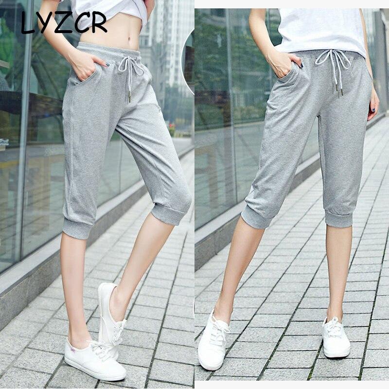 Women's Cotton Capri Summer Pants Casual Loose Harem Pants for Women Knee Length Breeches Women Pants Capris Female Sweatpants