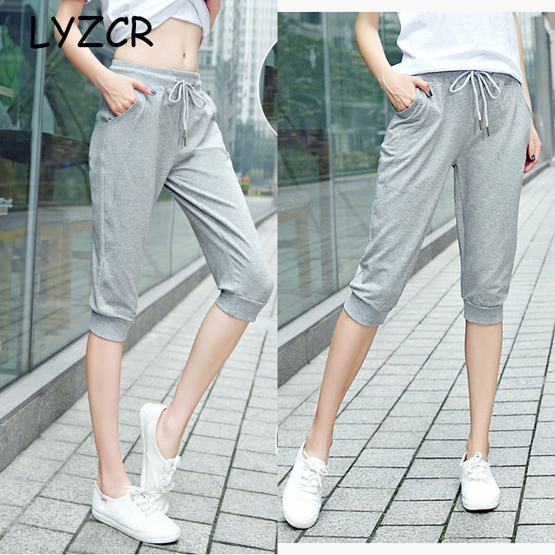 Women's Cotton Capri Summer   Pants   Casual Loose Harem   Pants   for Women Knee Length Breeches Women   Pants     Capris   Female Sweatpants