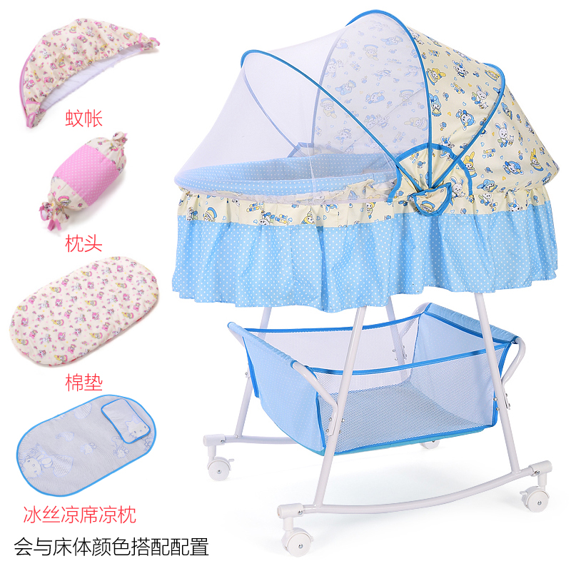 Multi-function Baby Cradle Newborn Bed Shaker Bed With Mosquito Net Comfort Bed With Roller Sleeping Basket