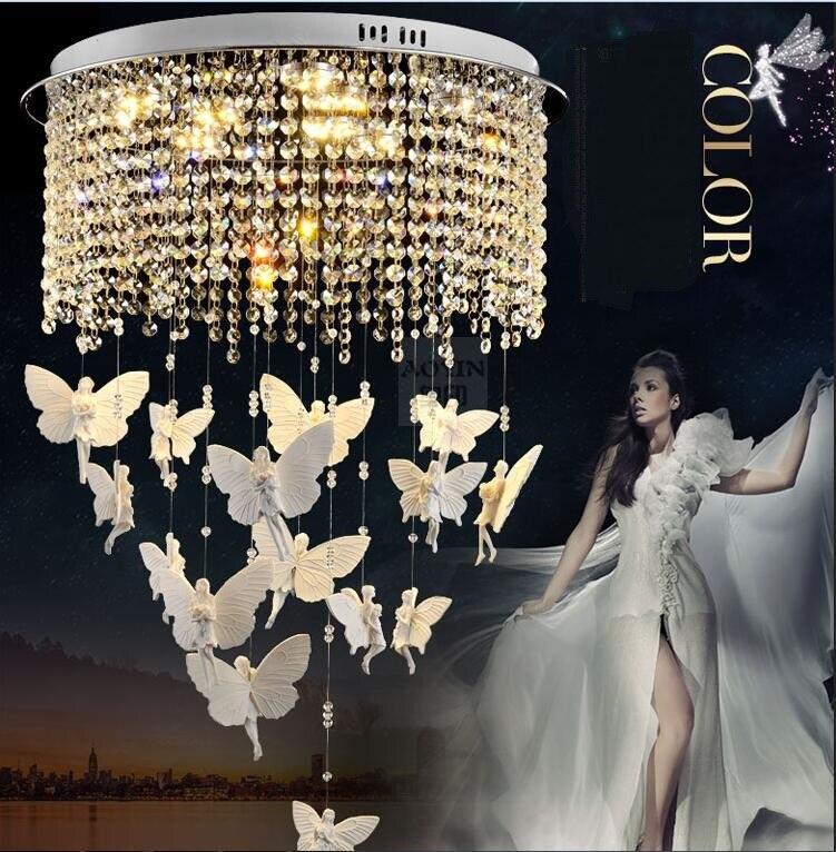 Ангел бабочка кристалл светодиодный потолочный светильник индивидуальность детская спальня Ресторан Главная освещения круглый потолочны