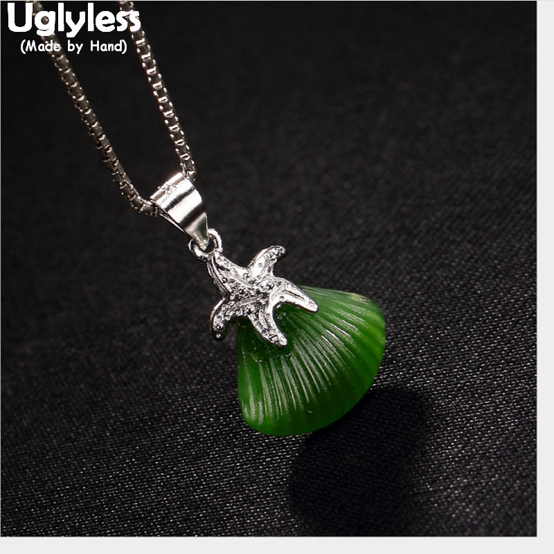Uglyless Real 925 Sterling Silver Handmade Star Pendants Necklaces NO Chains Handmade Starfish Pendant Jade Shell Fine Jewelry