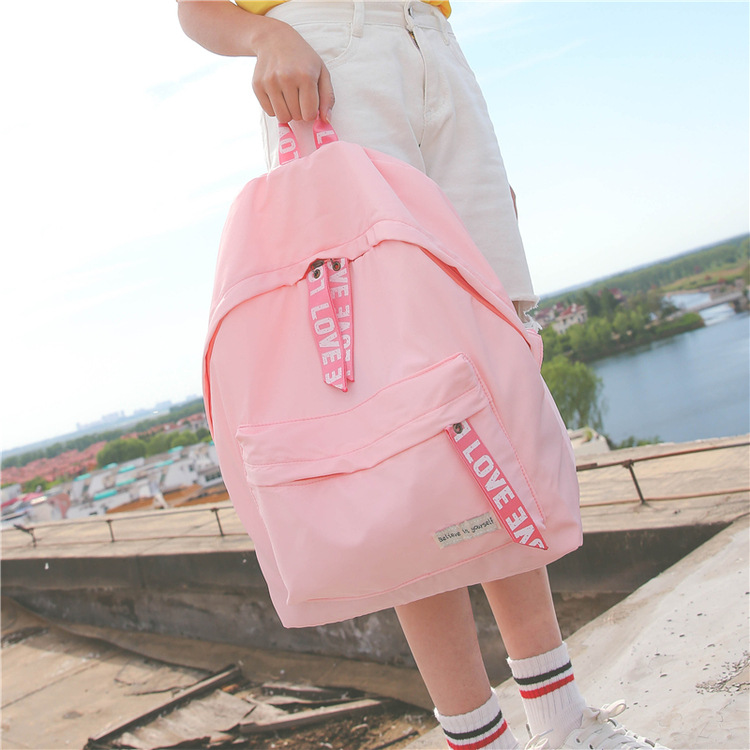 2018 NEW Female Bag Trend Nylon Cloth Letters Backpack Fashion Casual Rain Material Silk Face Student Bag