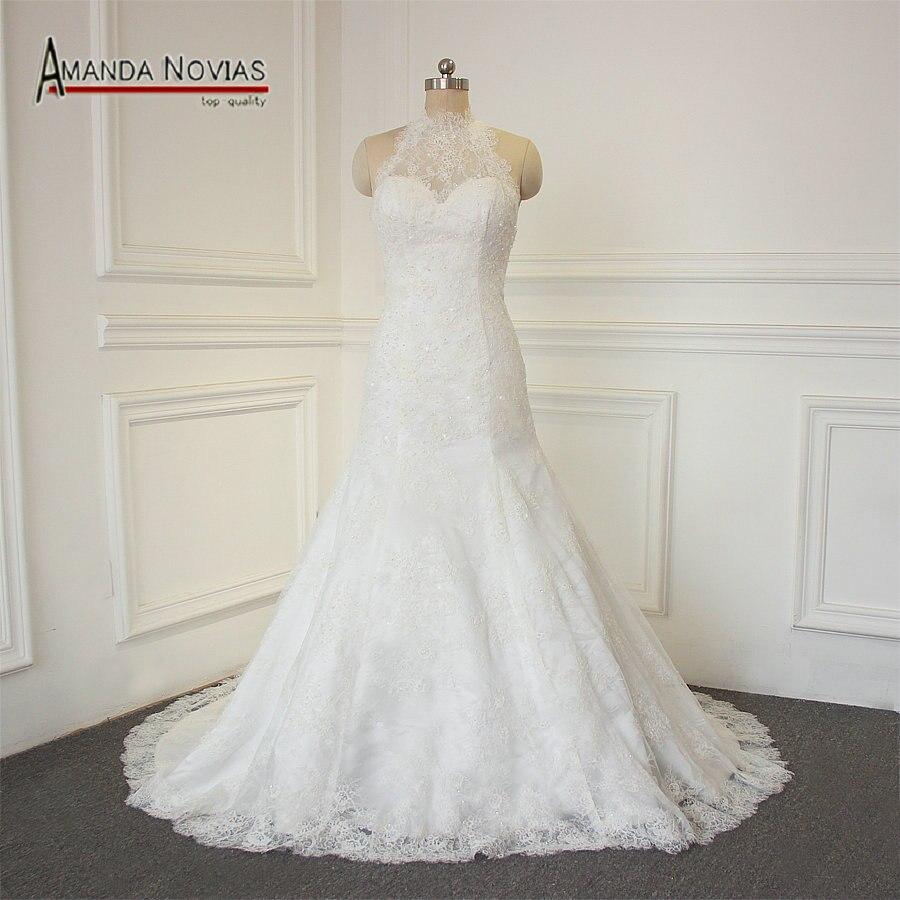 Halter Style Wedding Gowns: Halter Style Overlay Lace Elegant Wedding Dress Customer