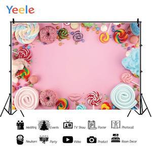 Image 3 - Yeele Suikerspin Bar Lolly Donuts Roze Verjaardag Fotografie Achtergronden Aangepaste Fotografische Achtergronden Voor Foto Studio